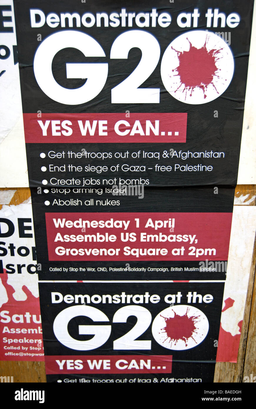 posters for g20 antiwar demonstration at the american embassy, london, april 2009, on a wall in hounslow, west london, - Stock Image