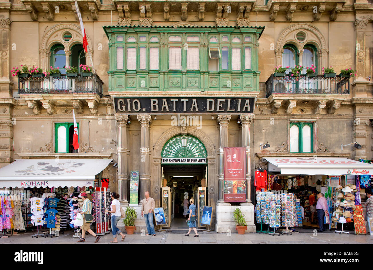 Malta, Valletta classified as World Heritage by the UNESCO, commercial building in the historical city center - Stock Image