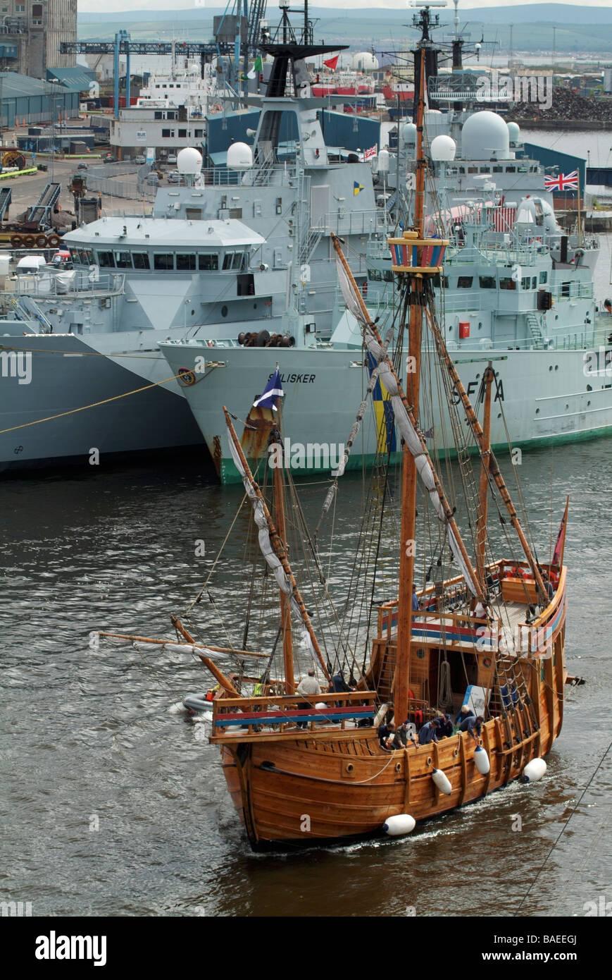 Caravel the 'Matthew of Bristol' arriving in Leith Docks, Edinburgh, Scotland, UK - Stock Image