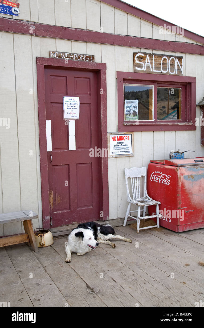 USA: OREGON: PAULINA: The front door to the saloon in the general store in Paulina, Ore - Stock Image