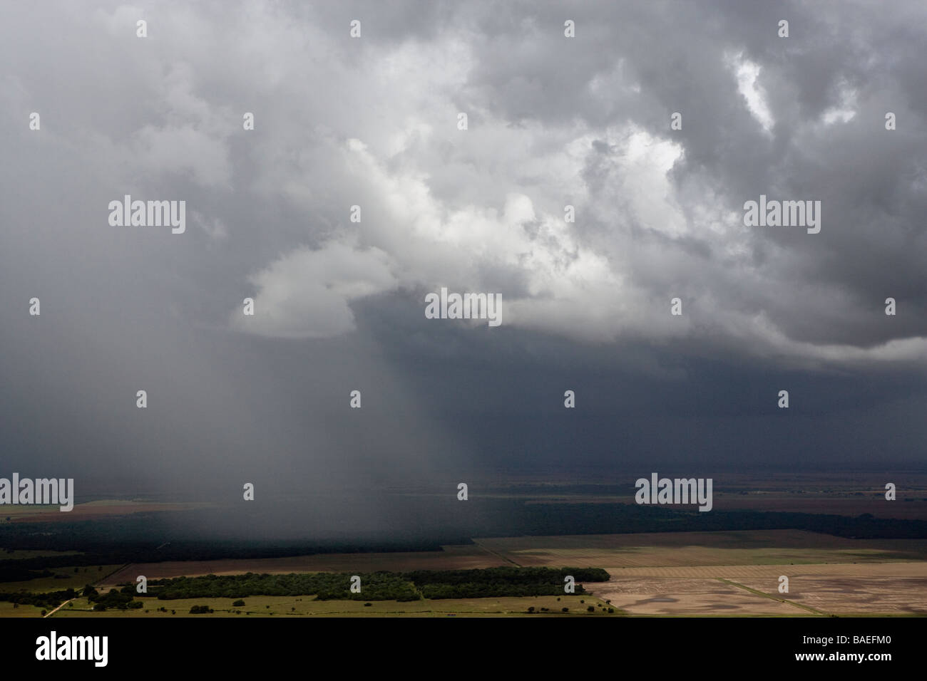 aerial view above thunderstorm shower western Texas - Stock Image