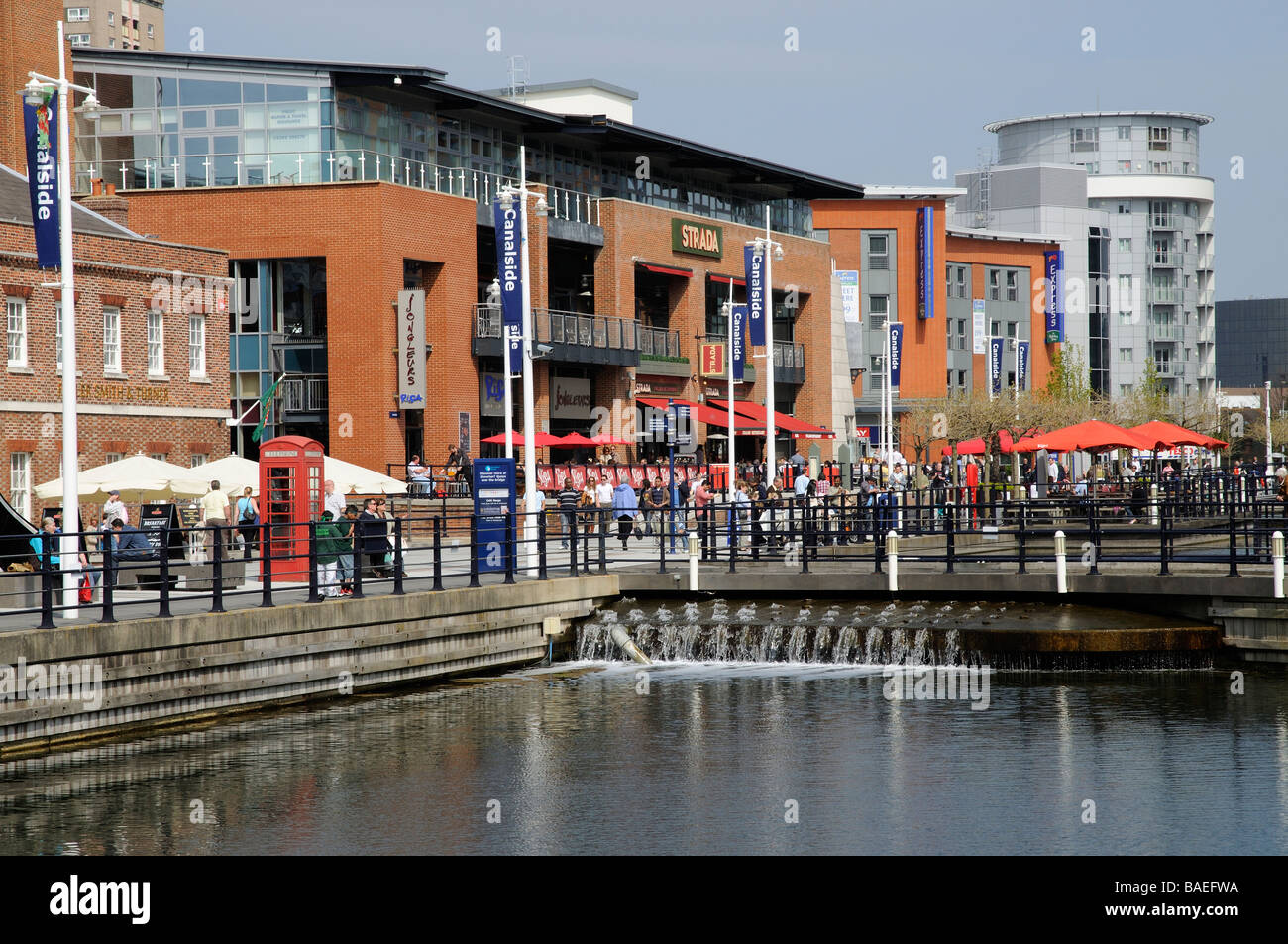 Gunwharf Quays property development of housing and shopping in Portsmouth England UK - Stock Image