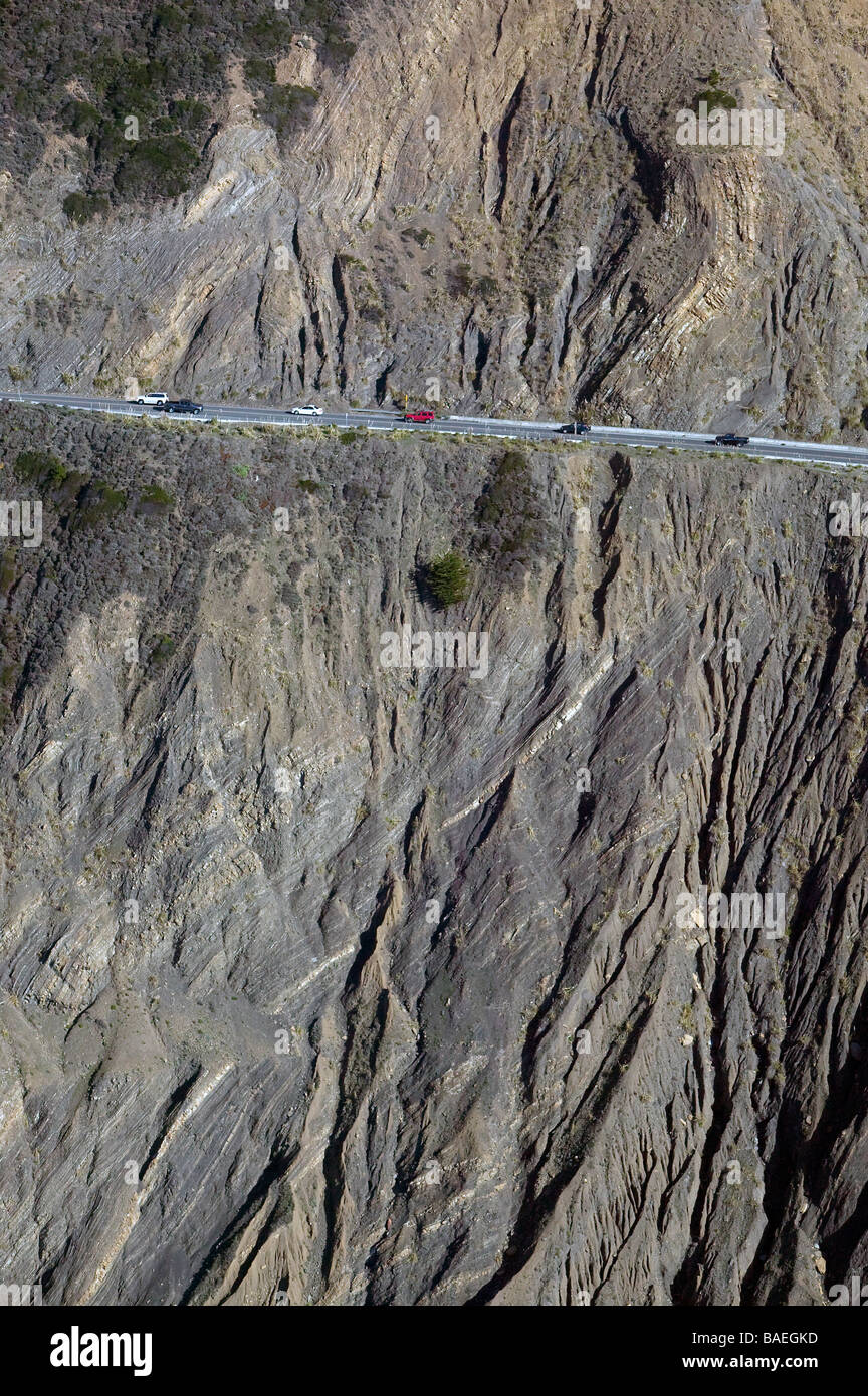 aerial view above Devil's Slide California highway one Pacific Coast Stock Photo