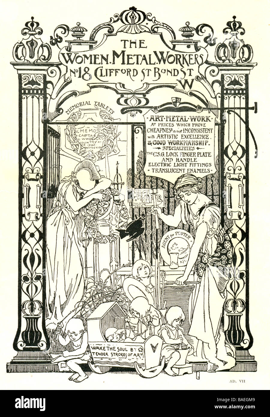 """Advertisement published in """"The Connoisseur"""" for The Women Metal Workers 1901 designed by Walter Crane Stock Photo"""