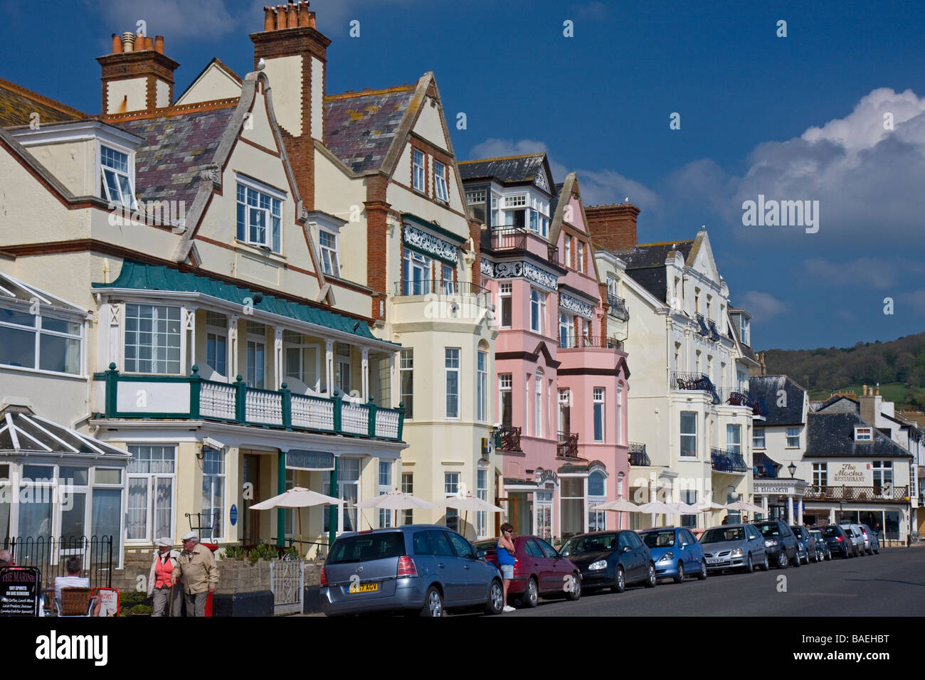 Row of hotels on the sea front, Sidmouth, Devon - Stock Image