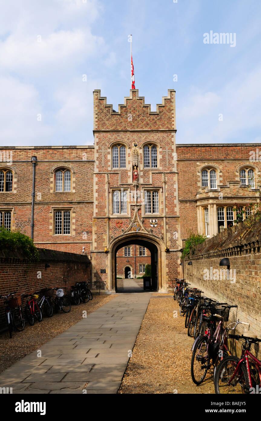 Gatehouse to Jesus College Cambridge England UK - Stock Image