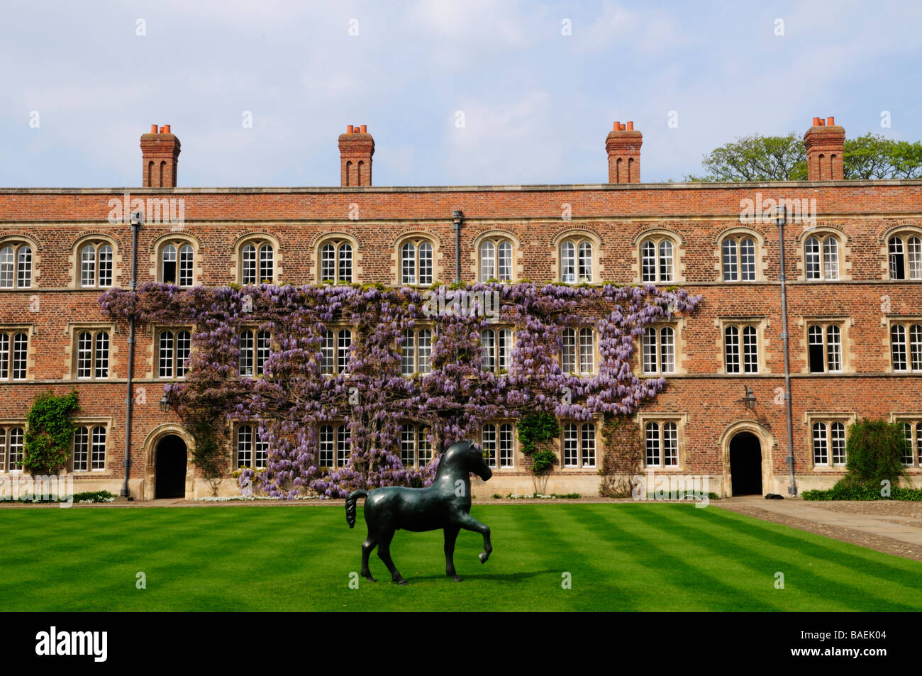 Horse Statue in First Court Jesus College Cambridge England UK Stock Photo