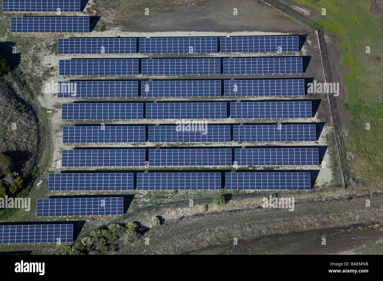 aerial view above solar array Marin county California wetlands restoration project - Stock Image
