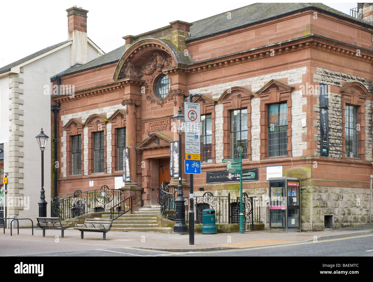 The Carnegie Library, Stricklandgate, Kendal, Cumbria, England UK - Stock Image