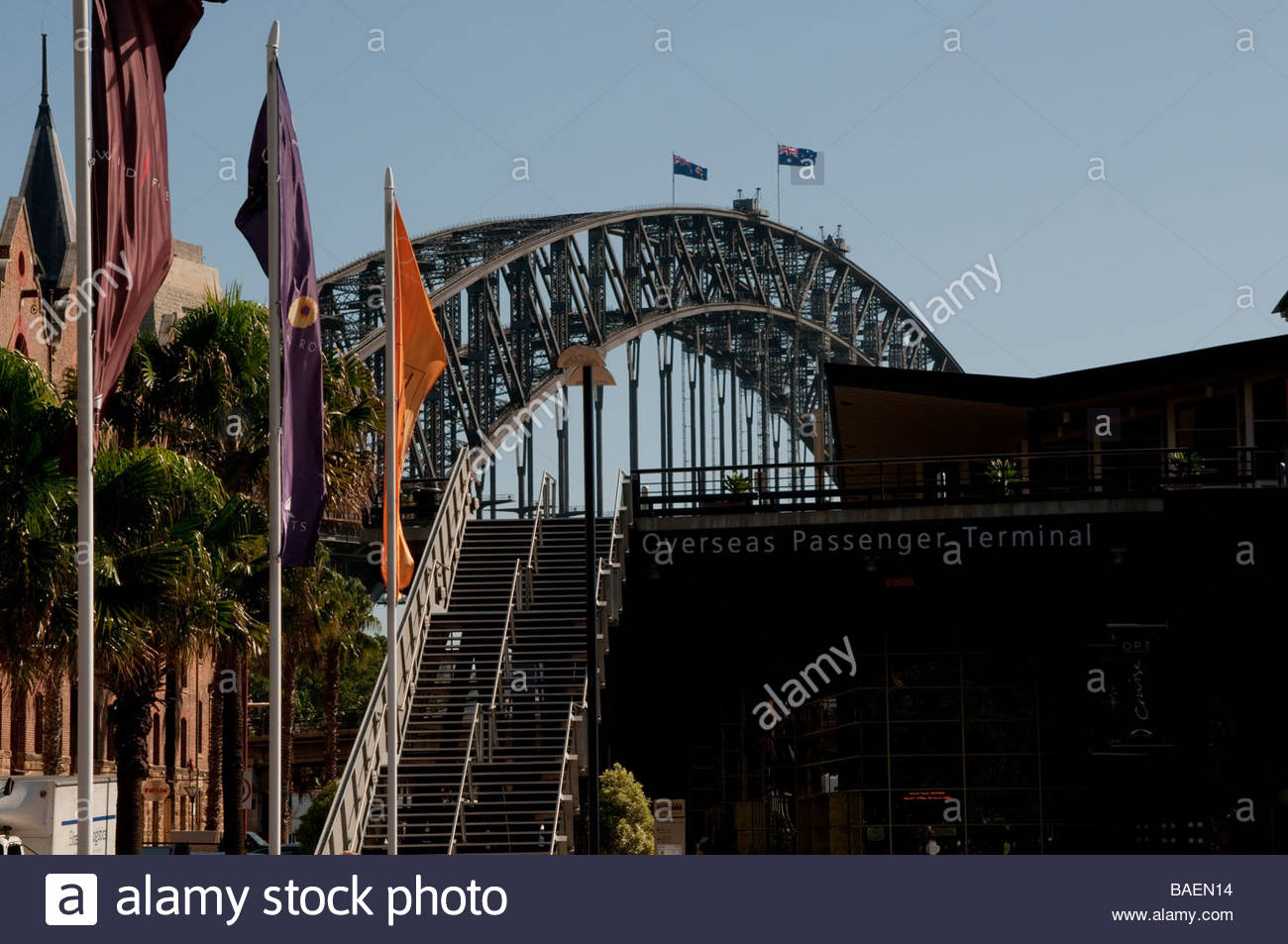 Sydney Harbour Bridge and Overseas Passenger Terminal NSW Australia NSW Australia - Stock Image