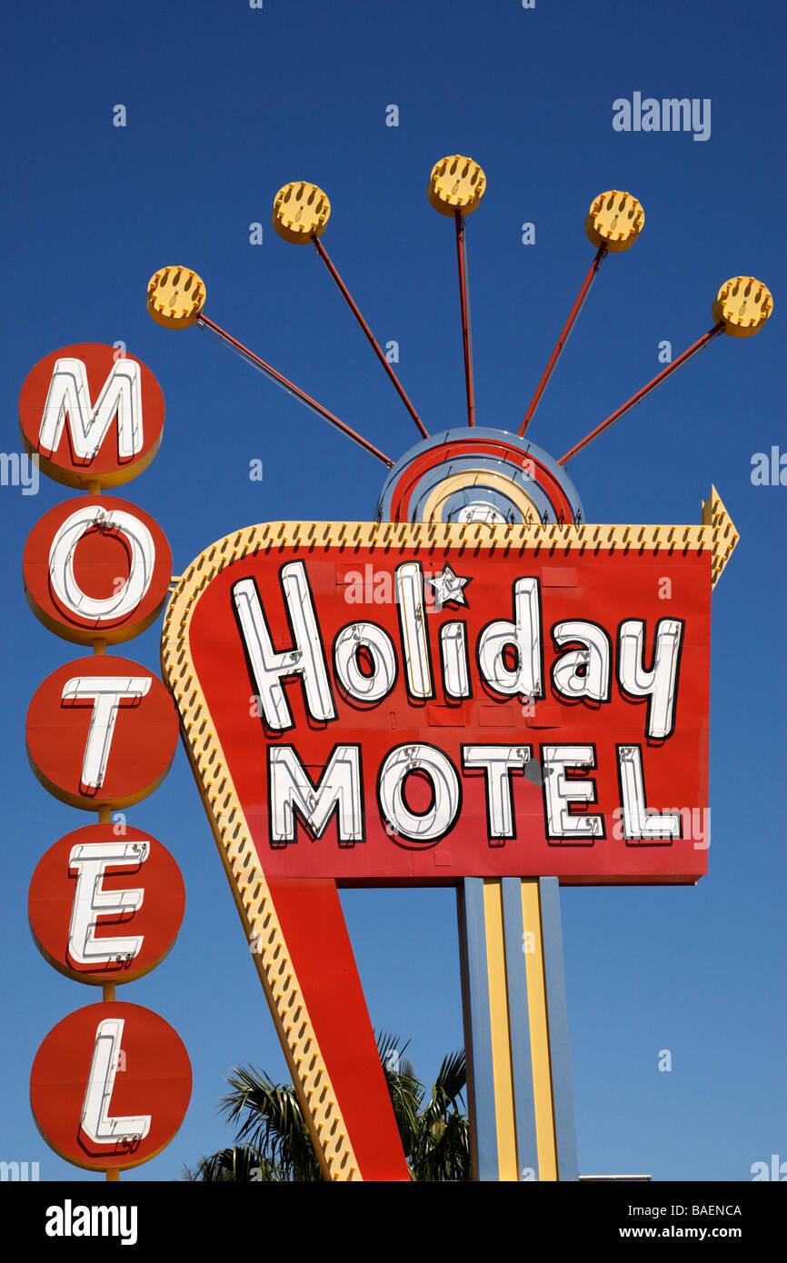 holiday motel sign on las vegas boulevard las vegas nevada usa - Stock Image