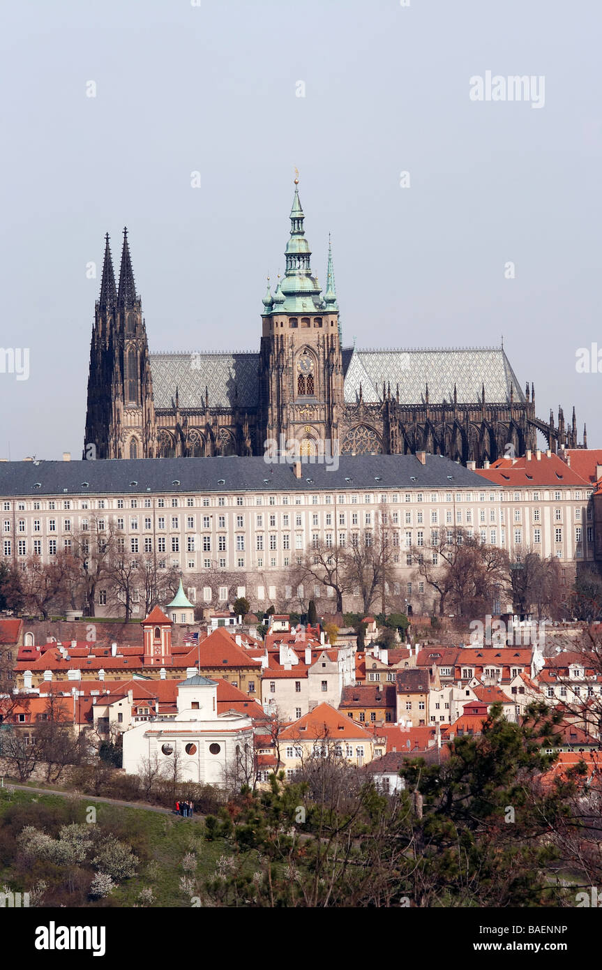 Hradcany - Cathedral of Saint Vitus and the Prague castle - Stock Image