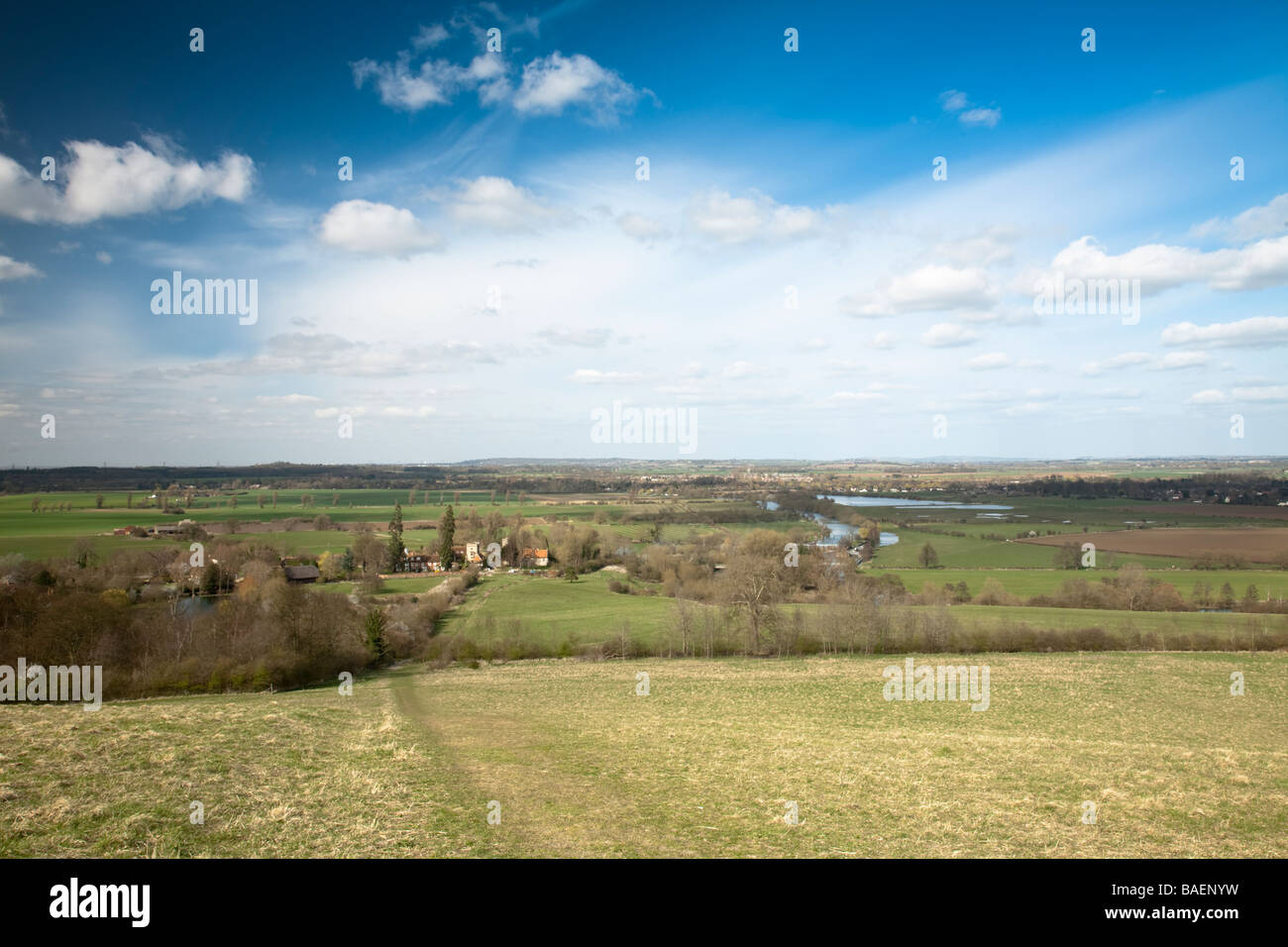 View of Little Wittenham River Thames and Thames Valley from Wittenham Clumps Oxfordshire Uk - Stock Image