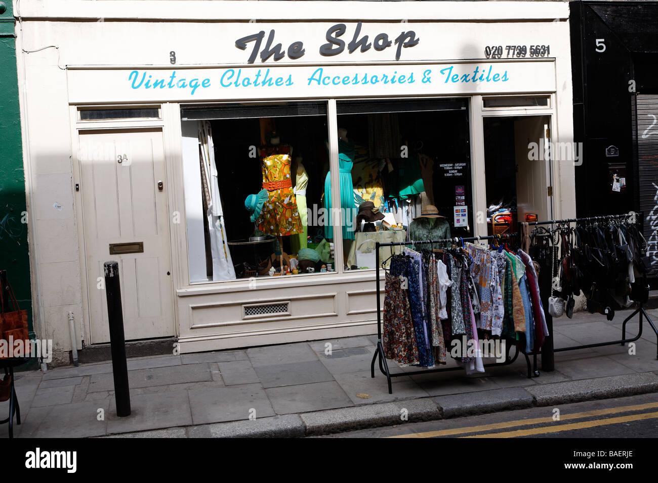 Vintage clothes accesories shop Brick Lane London England - Stock Image