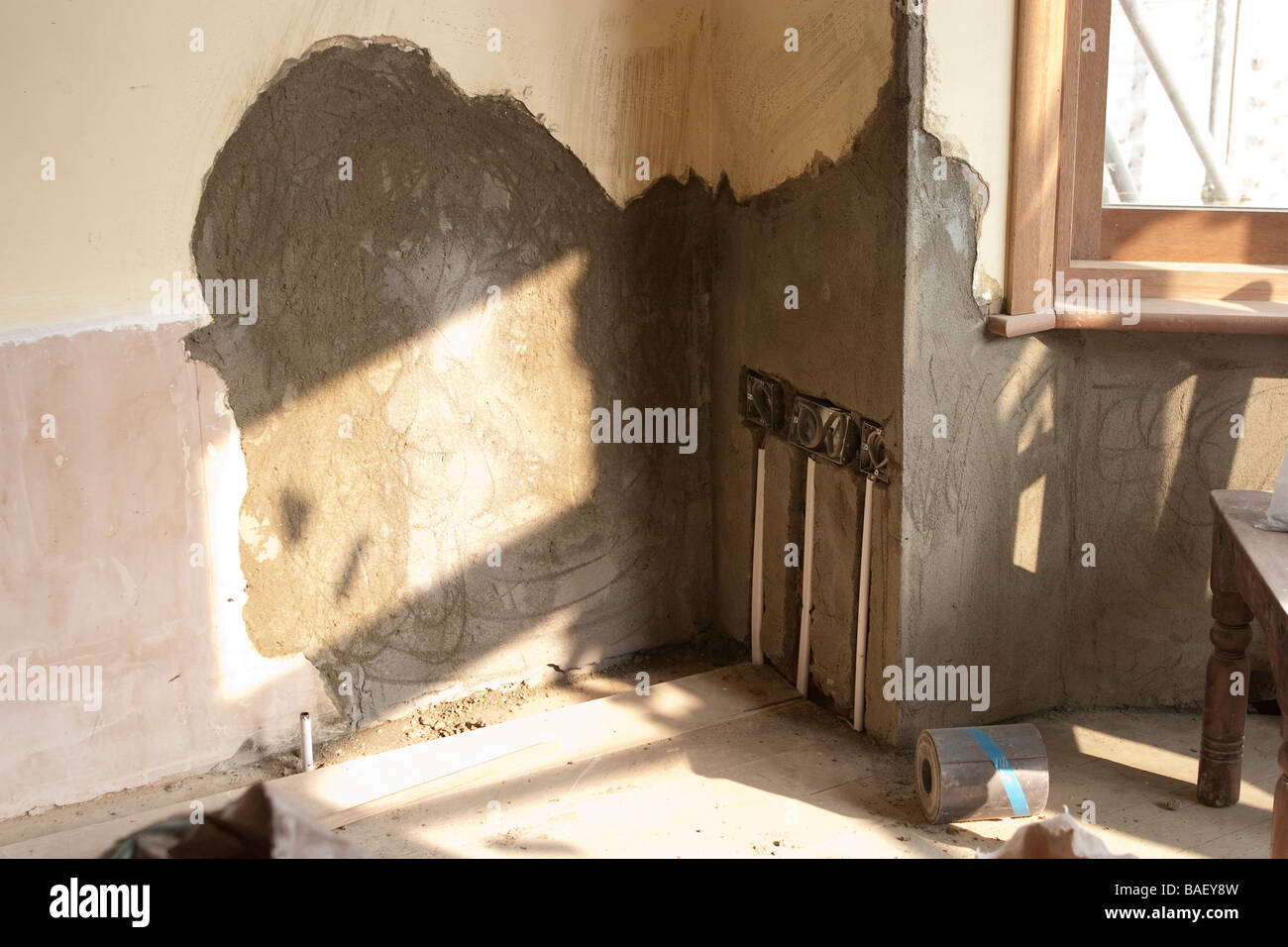 Wall Without Plaster Stock Photos Rewiring An Old House Walls A Replastered Bay Window In Being Renovated Rewired Image