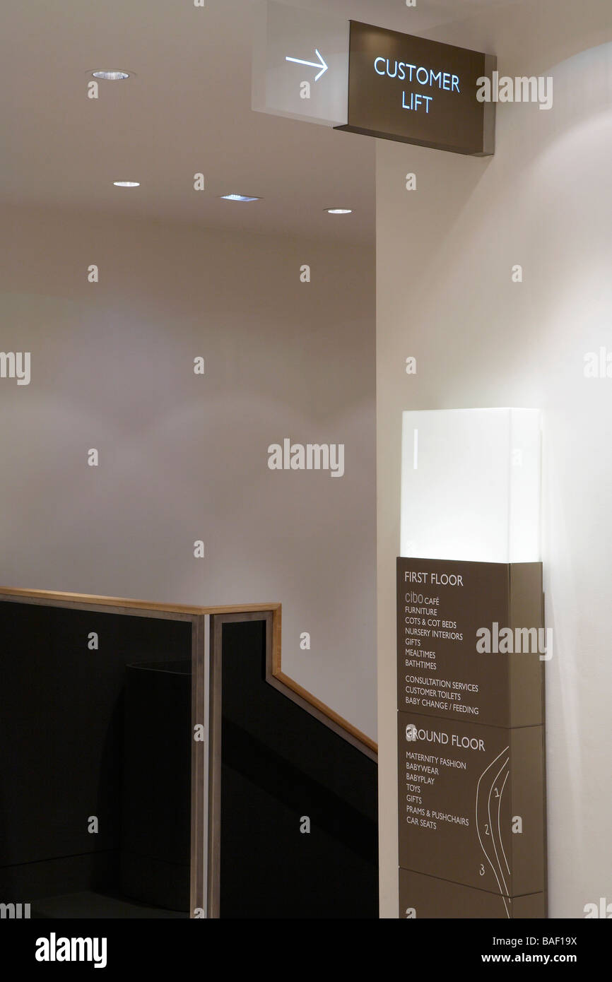 Mamas and Papas, London, United Kingdom, Four IV Design, Mamas and papas store interior detail showing signage by - Stock Image