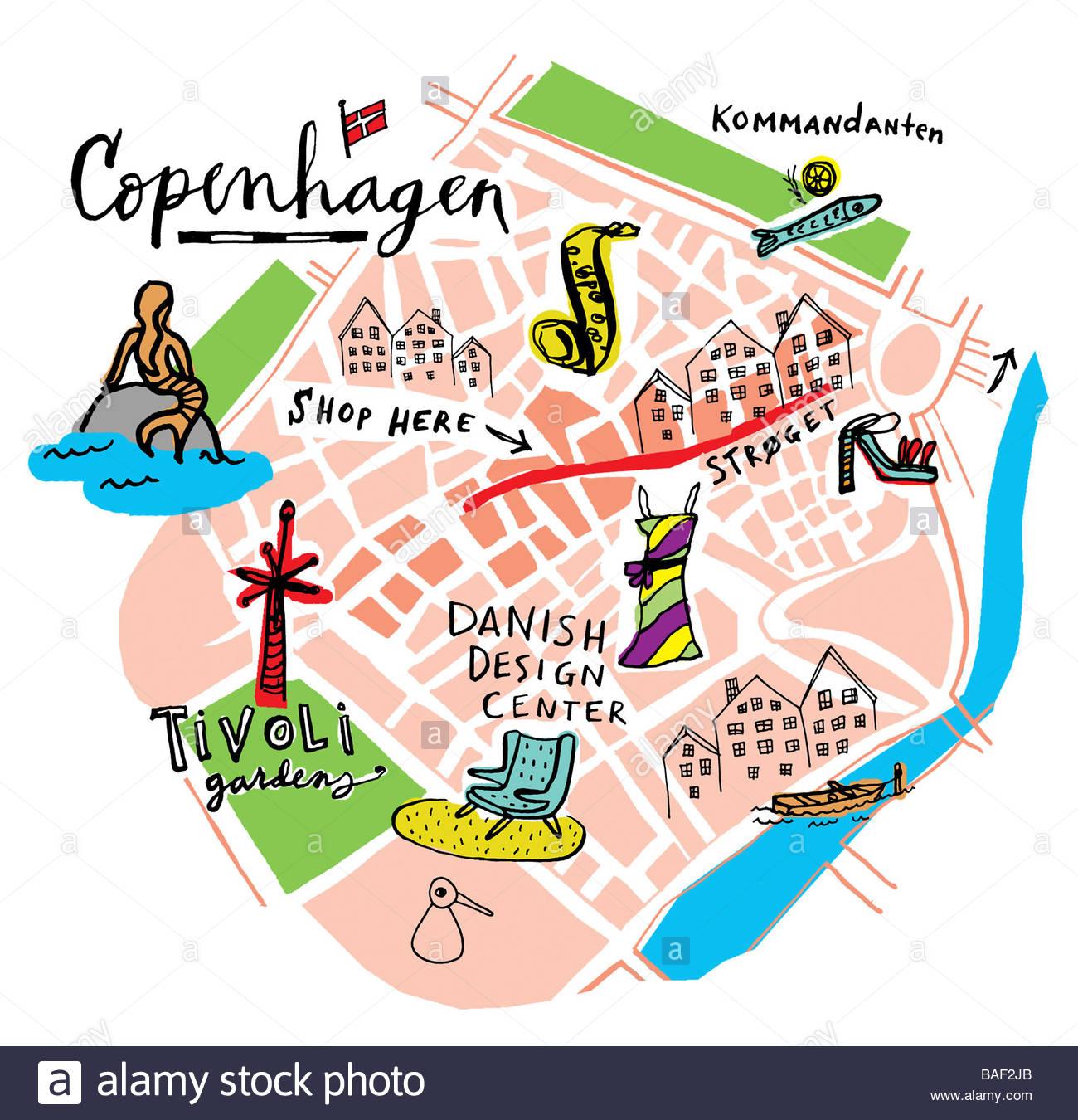 Copenhagen Map Stock Photo 23688291 Alamy