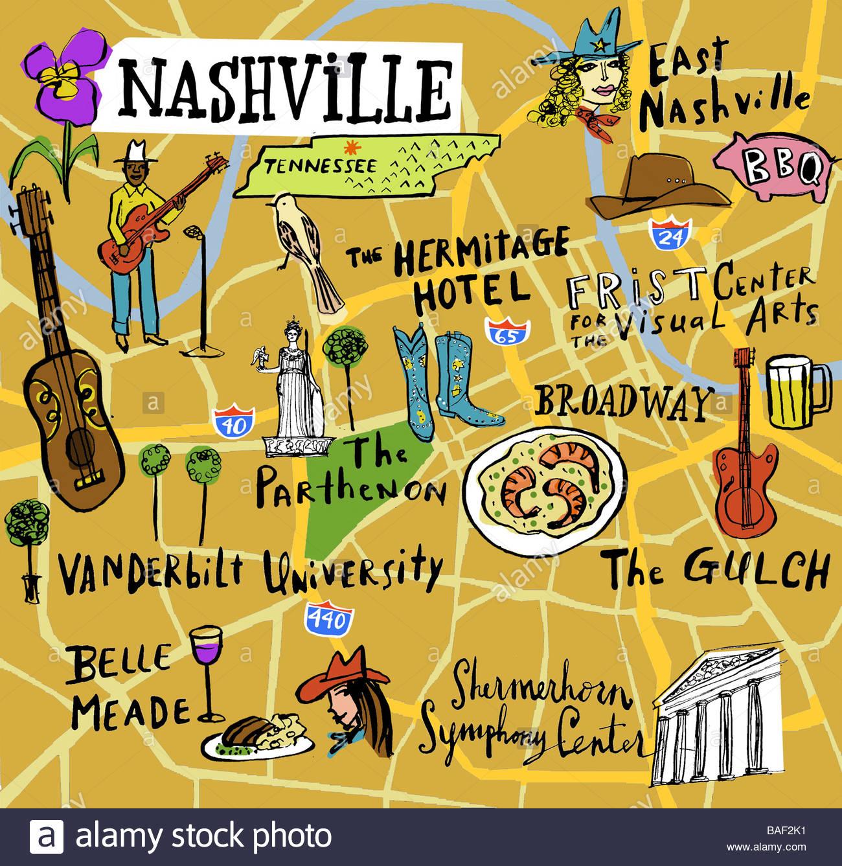 Nashville Map Stock Photo 23688309 Alamy