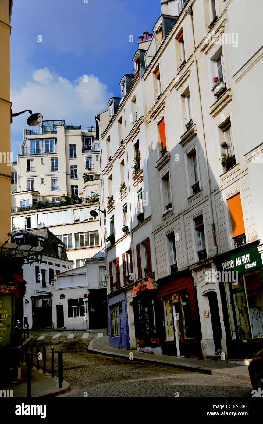 Paris France, Street Scene 'Real Estate' Apartment Buildings, housing empty  Montmartre, Abesses District - Stock Image
