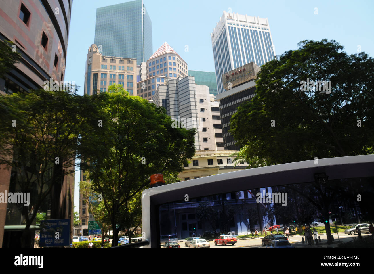Singapore,business district of the city.It can only grow upwards hence so many tower blocks, and people live in - Stock Image