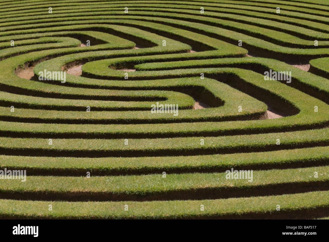 Lawn Maze, Cockington Green Gardens, Canberra, ACT, Australia - Stock Image