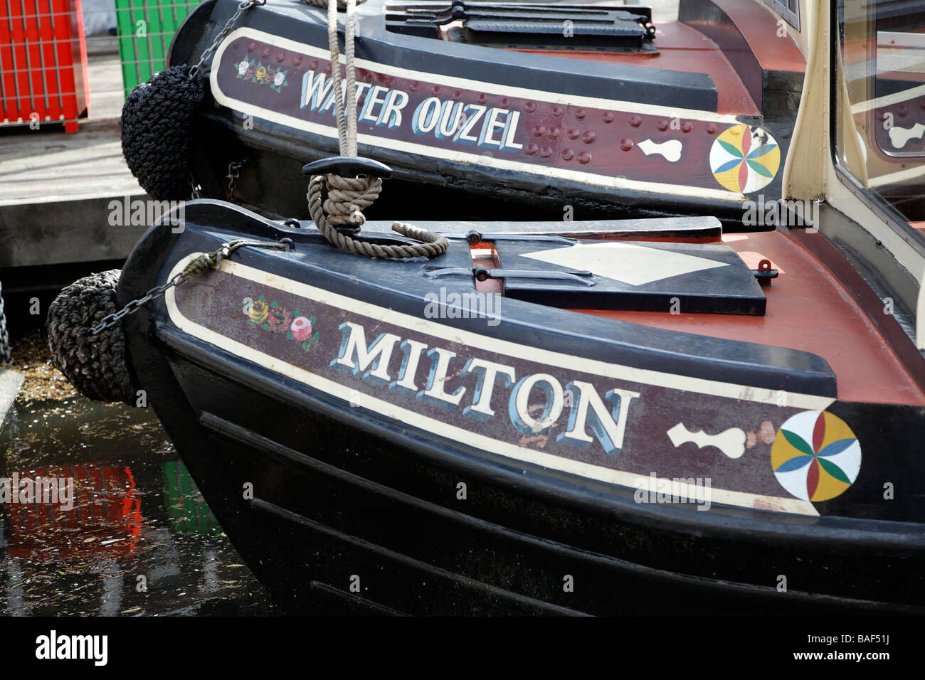 Narrow boats Camden Lock London England - Stock Image