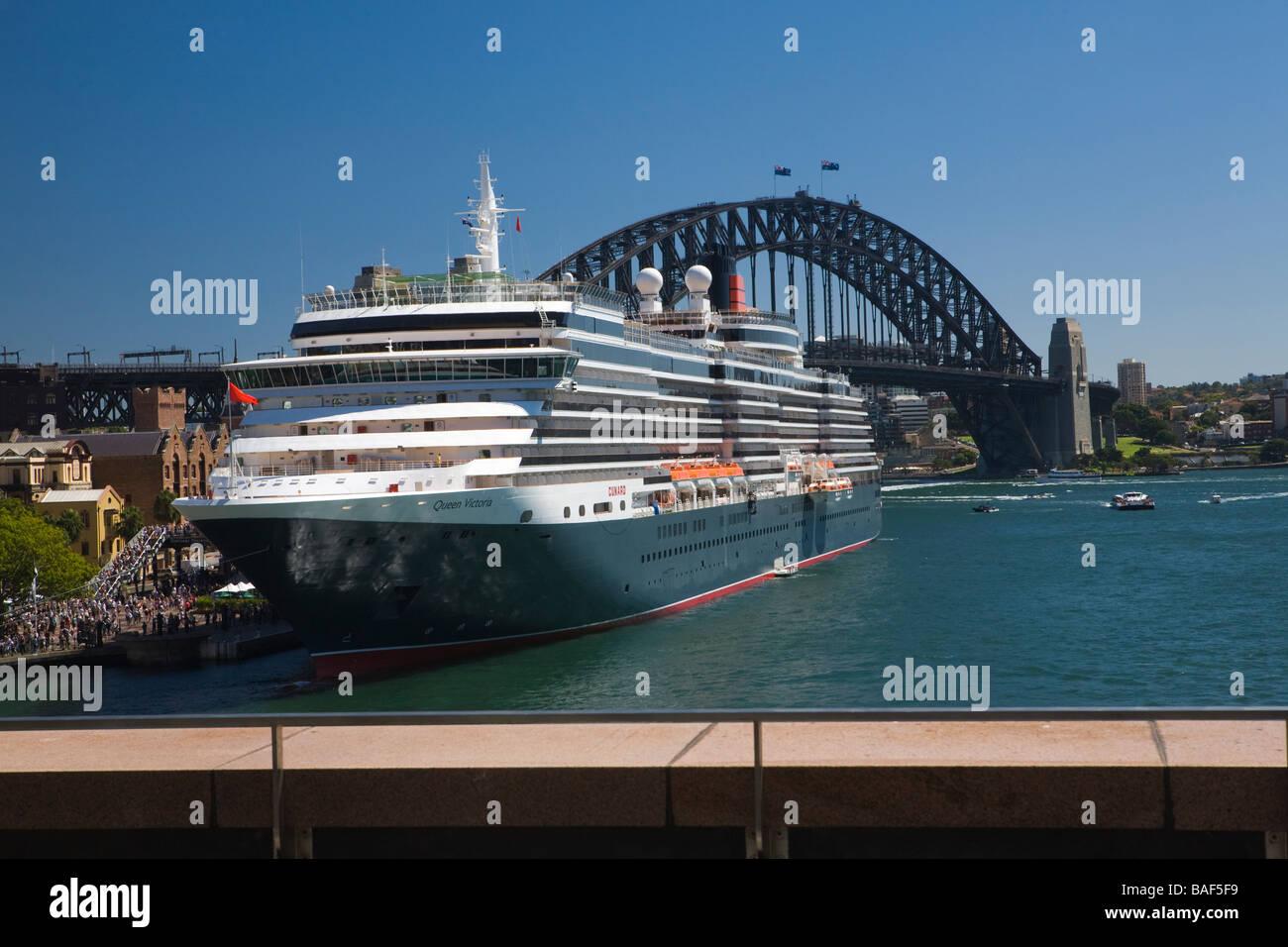 Queen Victoria cruise ship at Overseas Passenger Terminal, circular Quay, Sydney, New South Wales, Australia - Stock Image