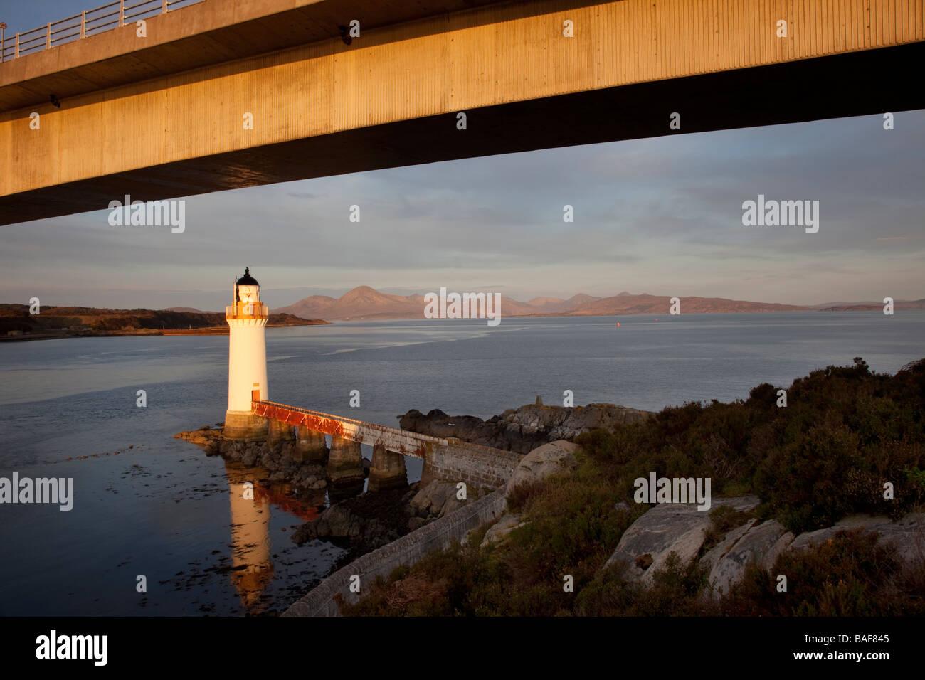 Skye Bridge, and lighthouse. or light house on the Isle of Skye, Scotland, UK - Stock Image