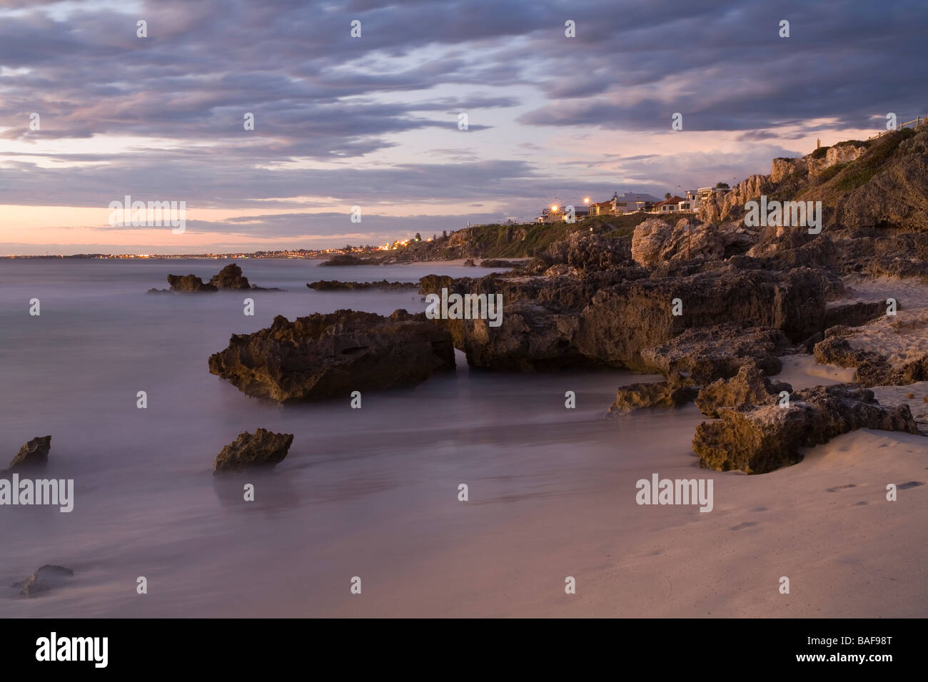 Benion Beach at sunset beside Trigg Beach on the coastal suburbs of Perth, capital city of Western Australia - Stock Image