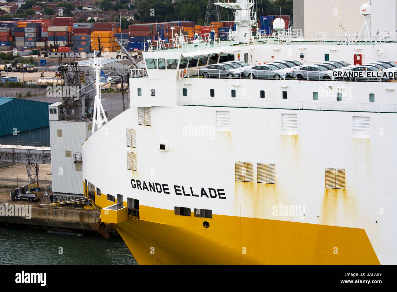 Car Carrier Port of Southampton Hampshire County England Great Britain - Stock Image