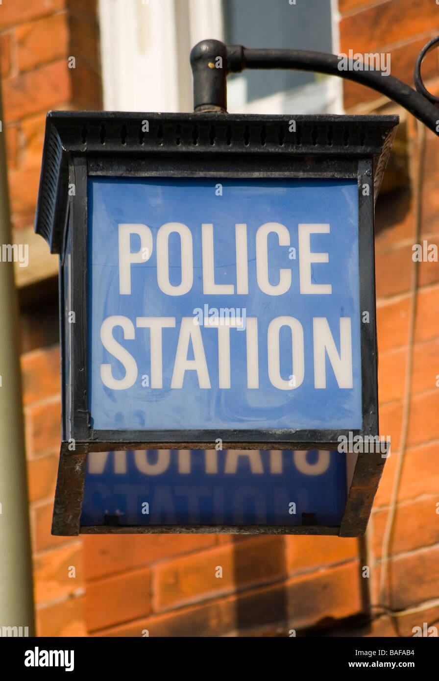 Blue Lamp light Outside an English Police Station uk - Stock Image