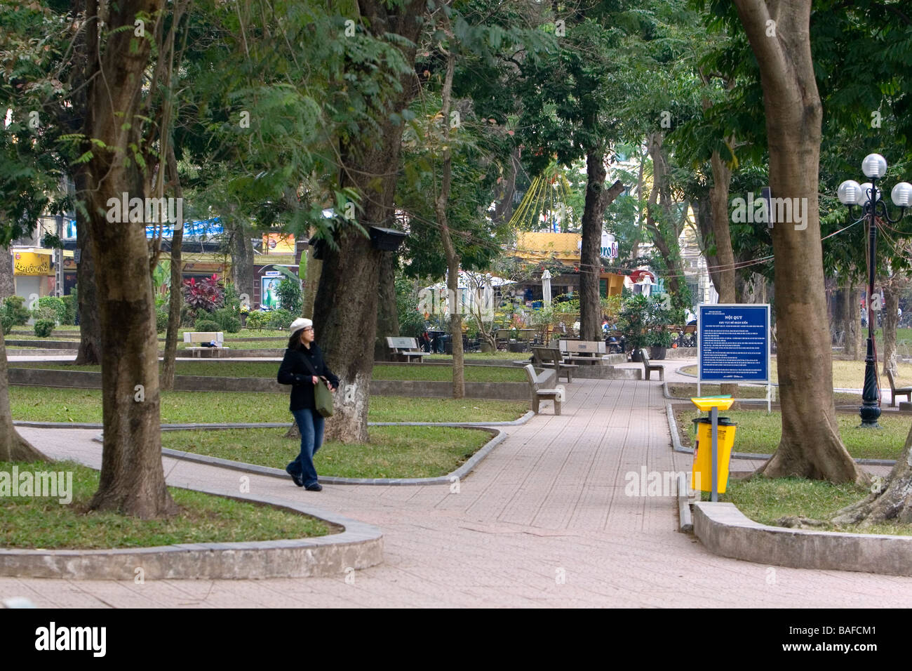 Public park along the Hoan Kiem Lake in Hanoi Vietnam - Stock Image