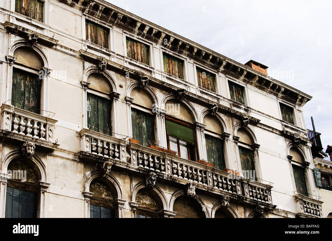Old Venetian building Venice Italy - Stock Image