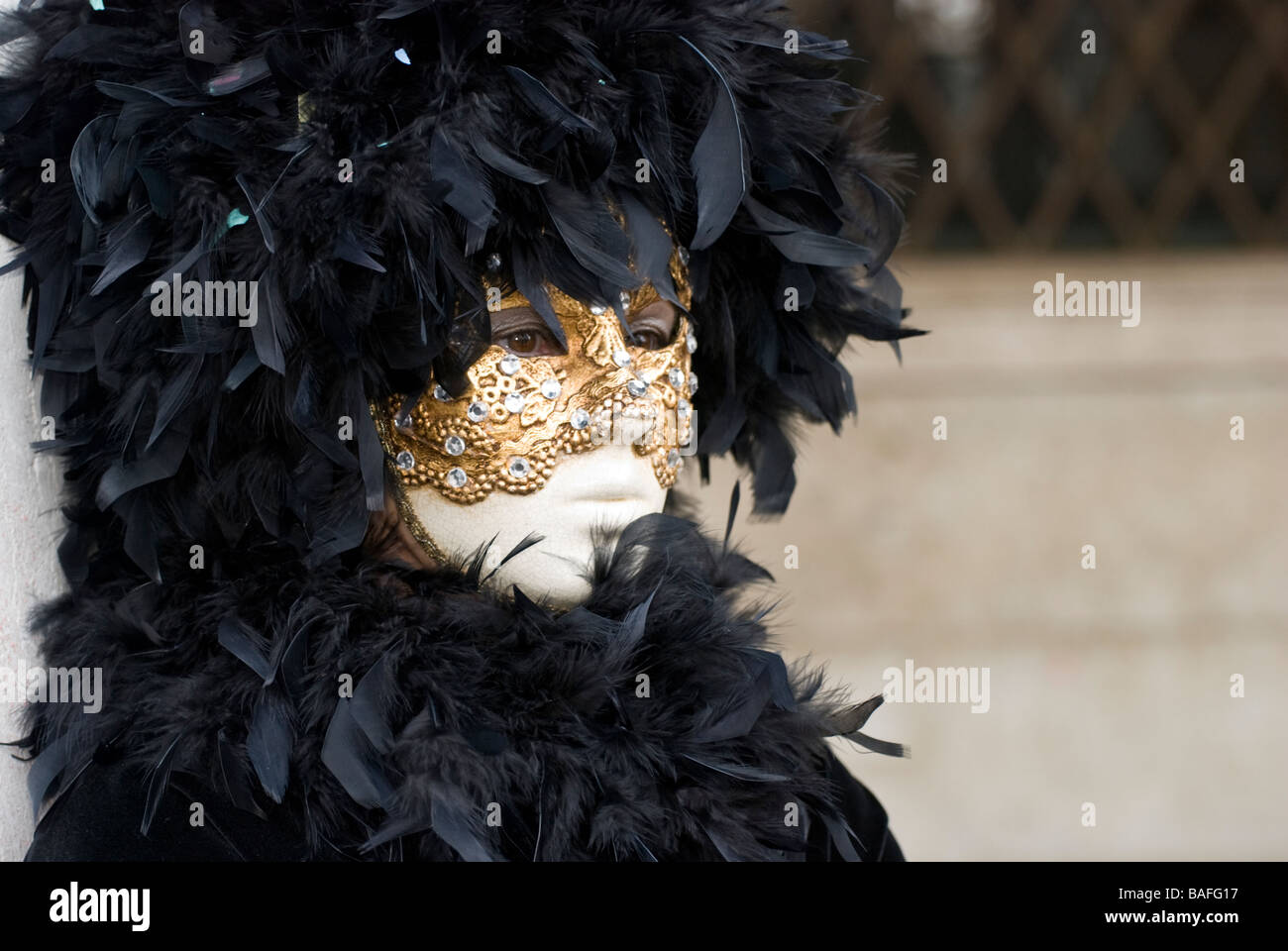 Single girl in a venetian carnival disguise with a gold mask and black plumes - Stock Image