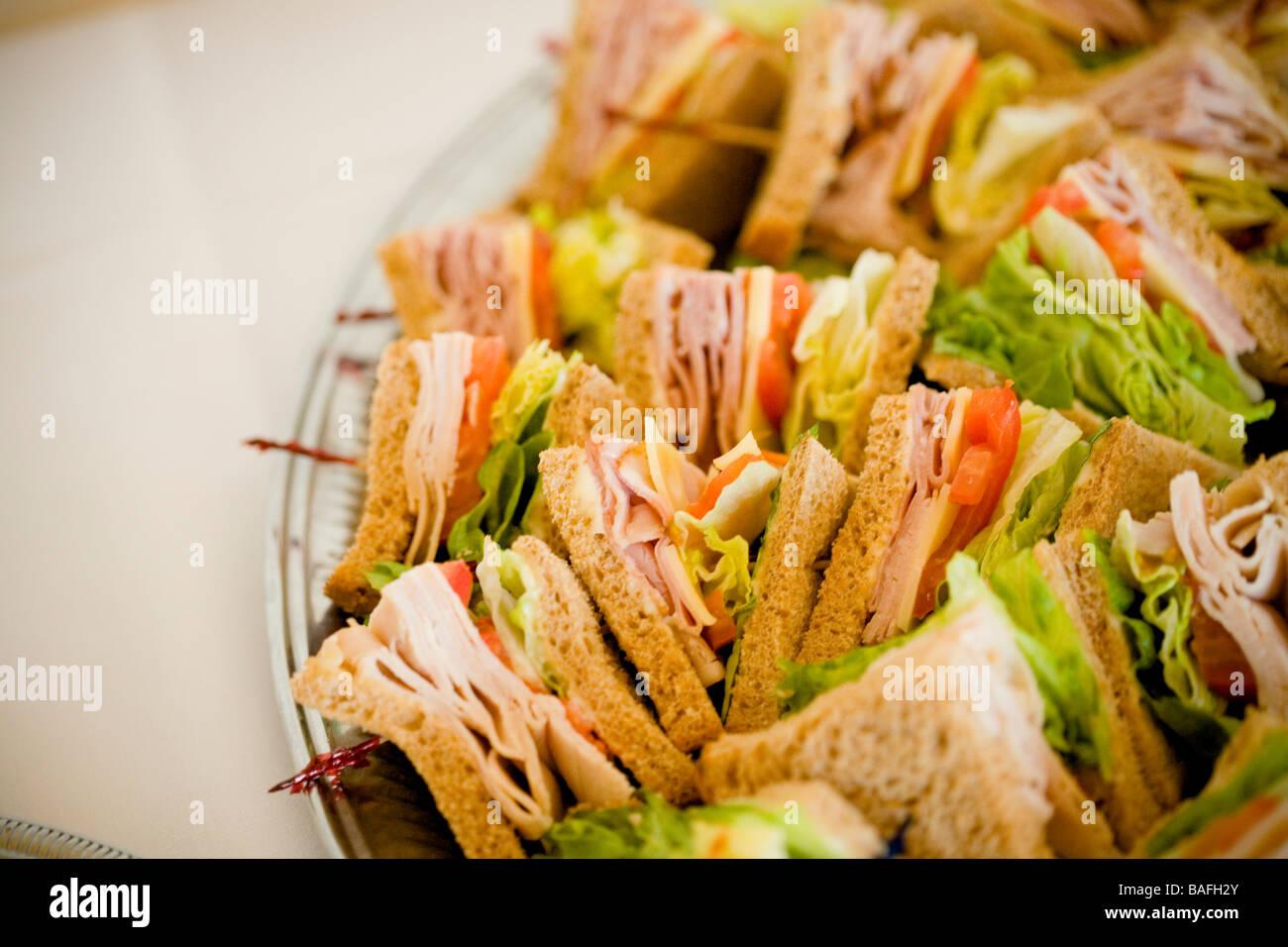 Sandwich Snack Fresh Food Turkey Club Ham Sandwich Platter Stock Photo Alamy
