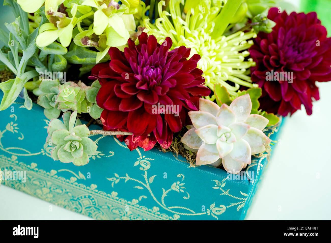 Flowers Arrangement Centerpiece Color Blue Green Bright Stock Photo Alamy