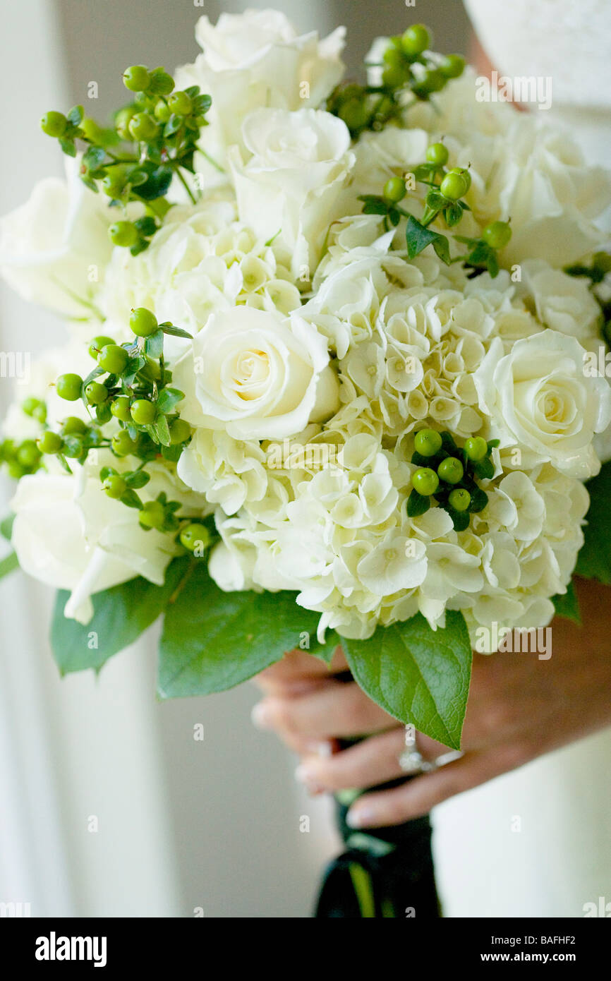 wedding bouquet flowers green cream color stock photo 23699958