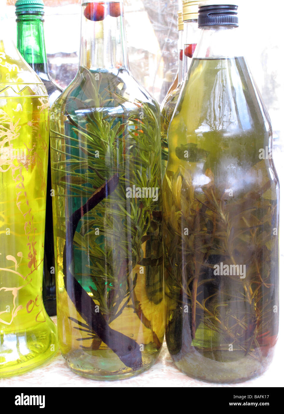 Bottles of olive oil with herbs home made for food preparation and or medicine Dalmatia Croatia - Stock Image