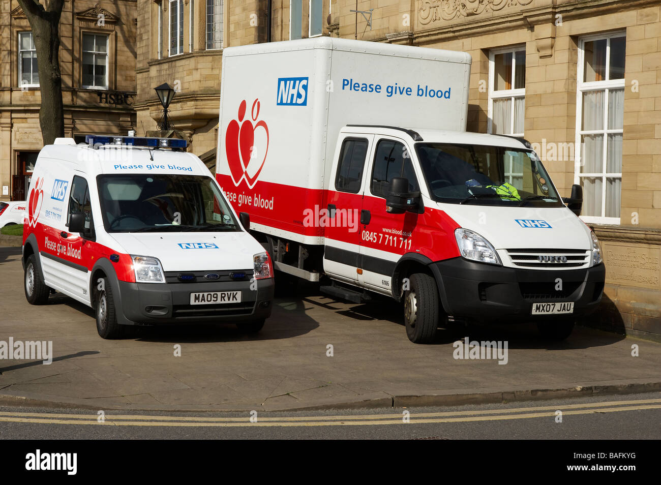 NATIONAL HEALTH SERVICE NHS BLOOD DONOR VEHICLE Stock Photo