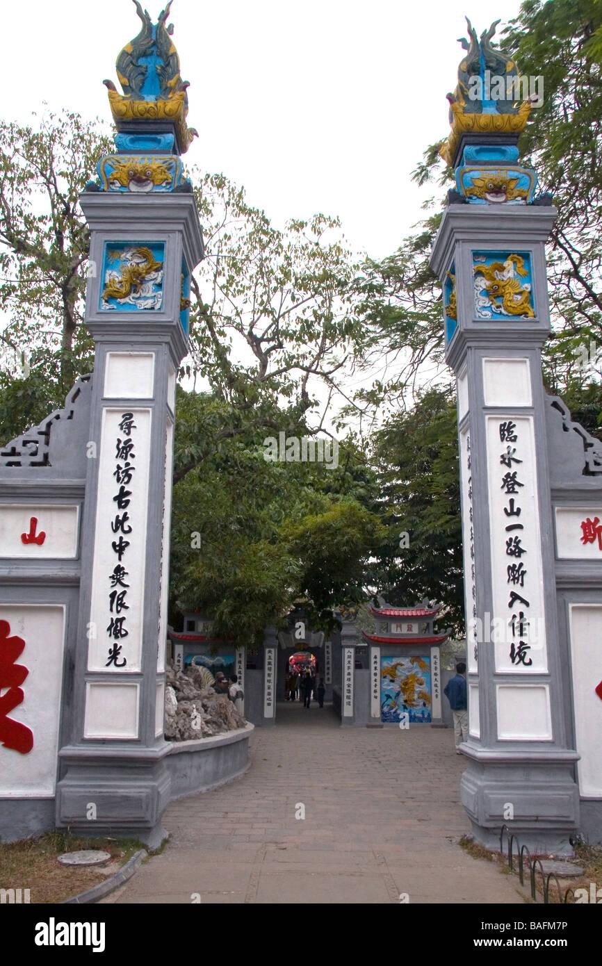 Ngoc Son Temple located on Jade Island in Hoan Kiem Lake in Hanoi Vietnam - Stock Image