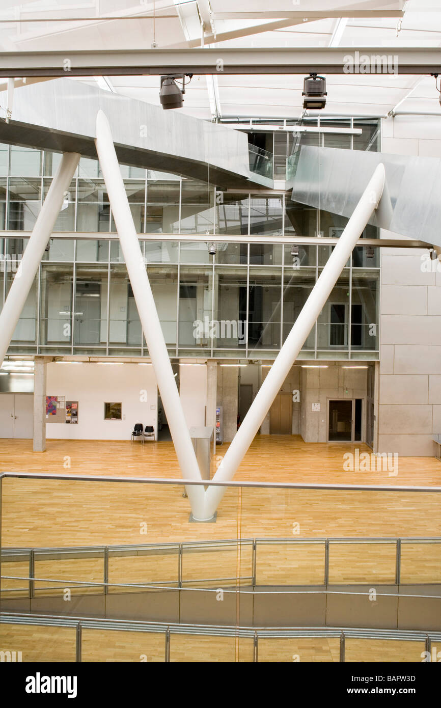 Academia of Fine Arts, Munich, Germany, Coop Himmelb(l)au, Academia of fine arts detail of ramp and structural legs. - Stock Image