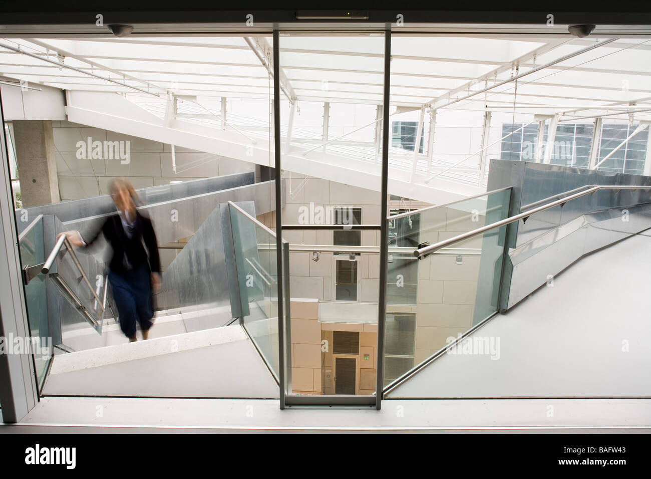 Academia of Fine Arts, Munich, Germany, Coop Himmelb(l)au, Academia of fine arts stairs and ramp converge at the - Stock Image