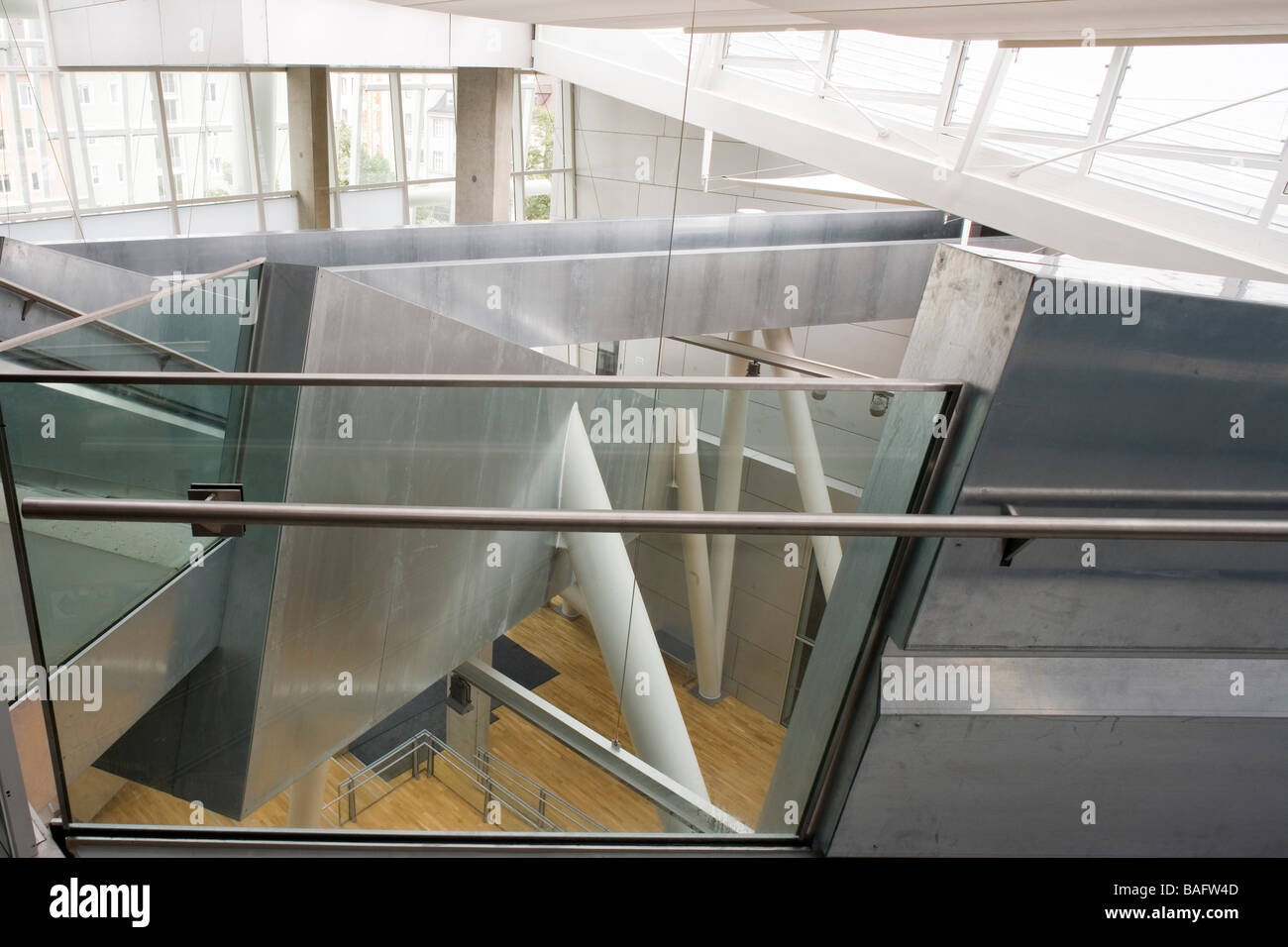 Academia of Fine Arts, Munich, Germany, Coop Himmelb(l)au, Academia of fine arts view of the stairs from the top. - Stock Image
