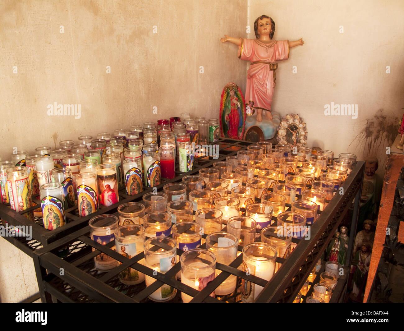 San Xavier Church, Tuscon, Arizona USA AZ america candels madonna religon - Stock Image