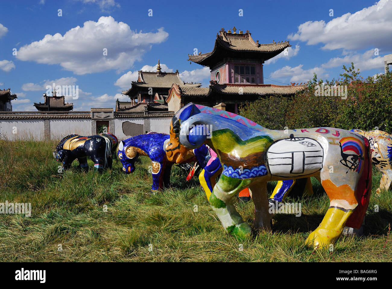 Mongolia, Ulanbaatar, Monastery-Museum of Choijin Lama, fancy horse sculptures - Stock Image