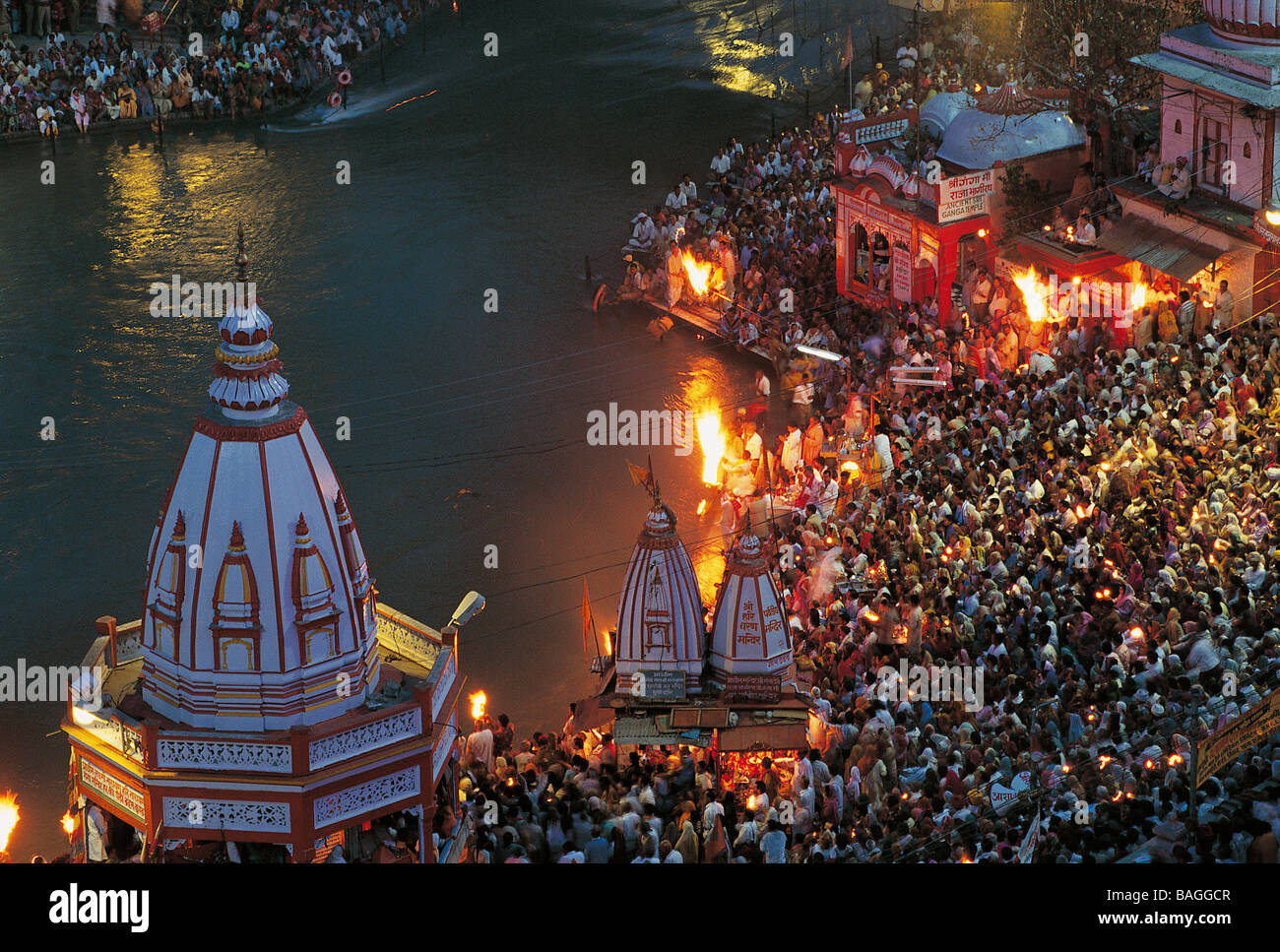 India, Uttarakhand, Haridwar, the Kumbh Mela is a Hindu pilgrimage that occurs four times every twelve years and - Stock Image
