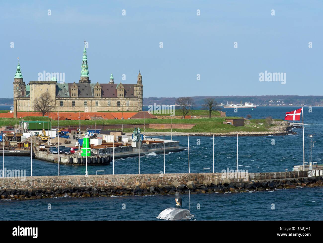 Danish castle Kronborg guarding the Oeresund passage between Helsingor Denmark and Helsingborg in Sweden - Stock Image
