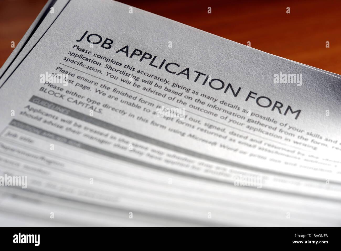 Job application form - Stock Image