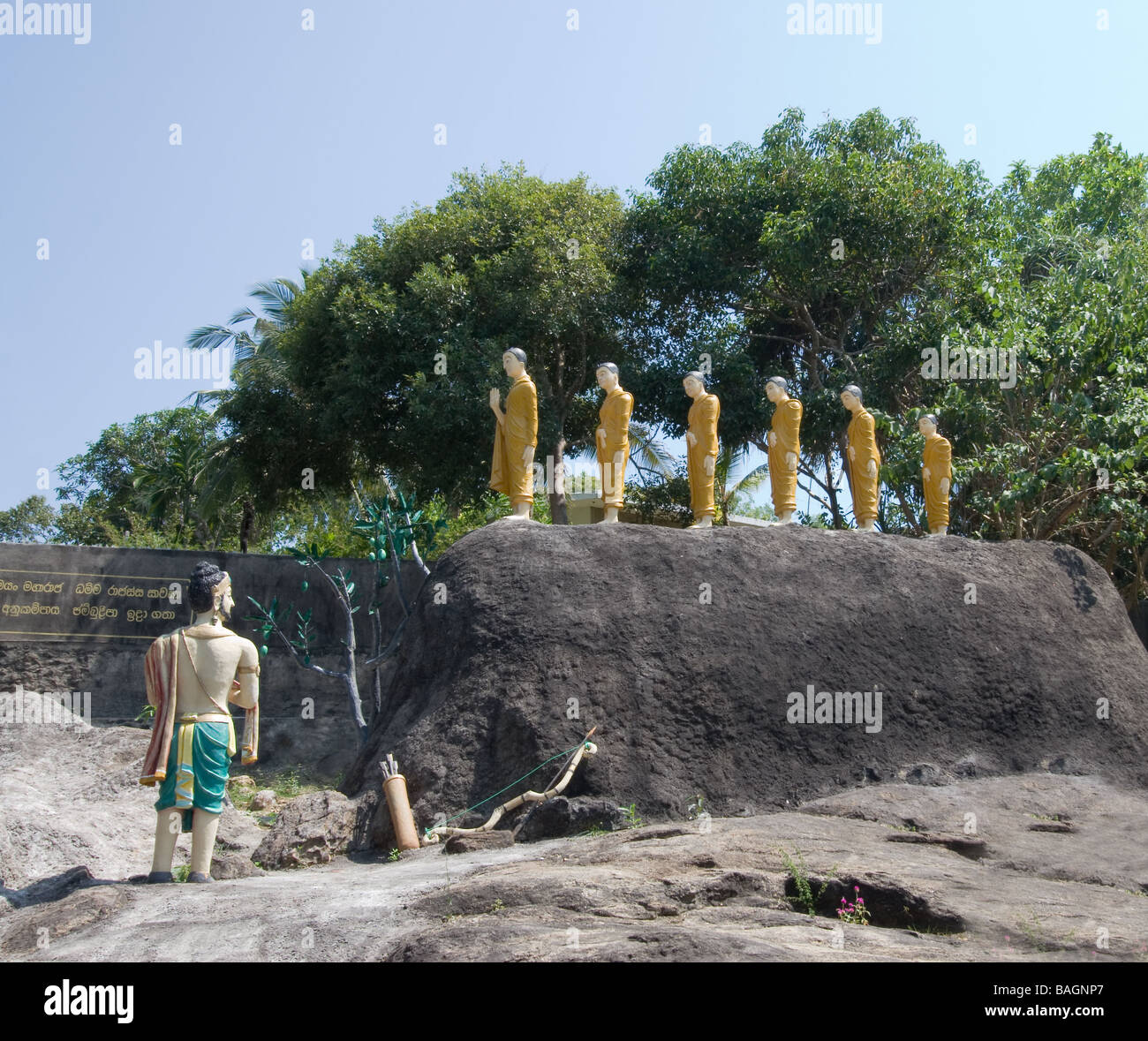 Scene of Buddhism in Sri Lanka - Arahat Mahinda brings Buddism to King Devanampiyatissa of Sri Lanka. - Stock Image