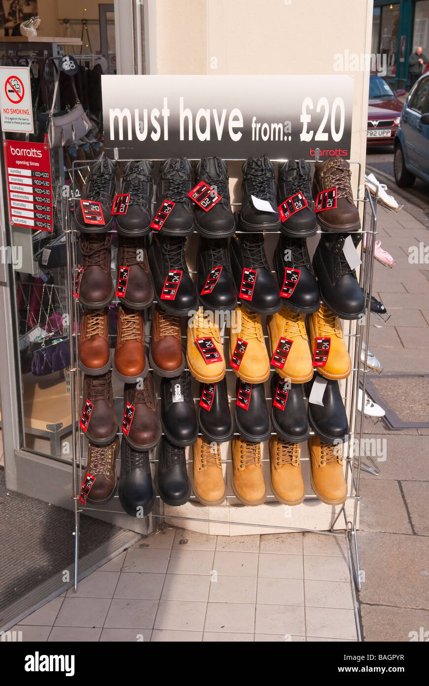73f711569ba Mens shoes for sale on a rack outside Barratts shoe shop store in  York